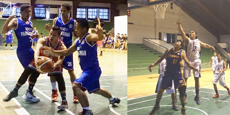 Three cagers of  DepEd  Pangasinan-1 triple team a player from the Bureau of Internal Revenue (BIR) during a game of the 1st Pangasinan Inter-Agency Basketball Tournament on July 22 at Rosales gymnasium. DepEd 1 won by an eight-point advantage,  85-77. Lower photo, on the other hand, shows  cager #12 of Bureau of Fire Protection (BFP) as he jumps for a shot. The BFP won against Cenpelco team with an 11-point lead, 86-75. Both teams remain undefeated as of last scheduled games. (Photo by Ruby R. Bernardino and Boy Aquino)