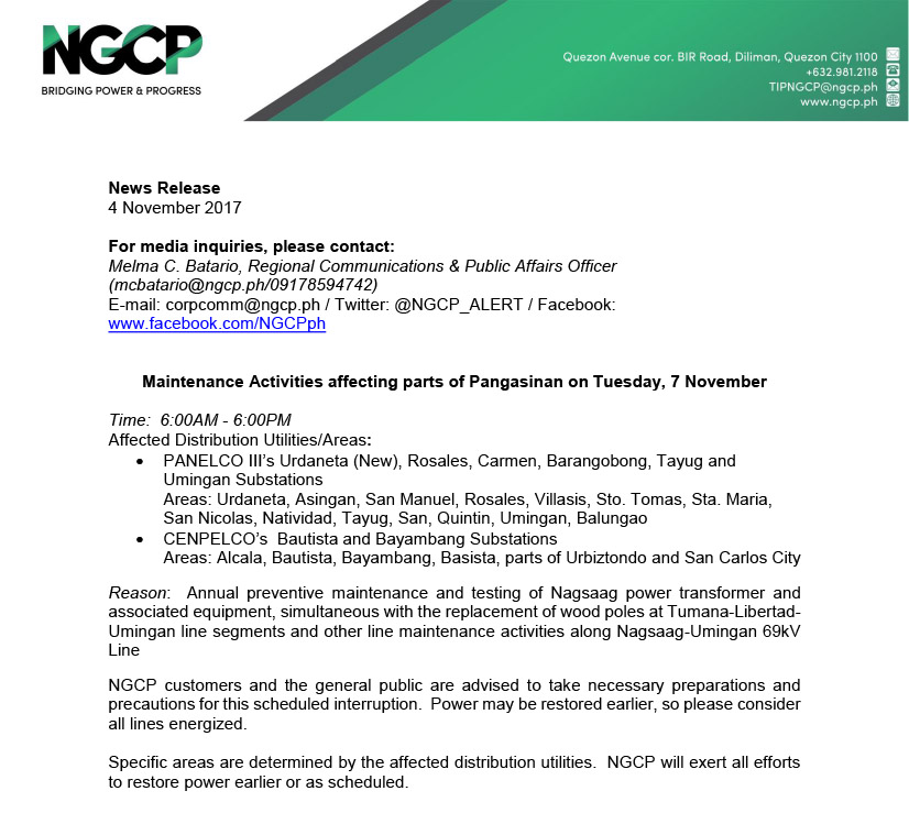 NGCP Scheduled Power Interruption_7 November