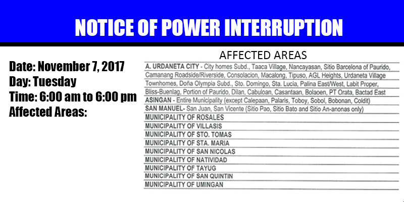 notice of power interruption