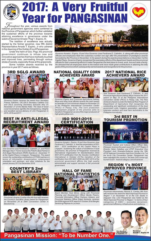2017: A Very Fruitful Year for Pangasinan