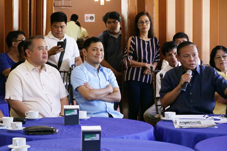 . Governor Amado I. Espino, III watches the presentation of 2nd district representative Congressman Leopoldo N. Bataoil as he pledged full support to the latter's tourism-infrastructure project updates and proposals during a presentation-meeting held at the Capitol Resort on March 12