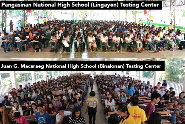 About 2,486 incoming college students from different cities and municipalities of Pangasinan took the Provincial Scholarship Program held simultaneously in two testing centers – Pangasinan National High School in Lingayen and Juan G. Macaraeg National High School in Binalonan on May 12.