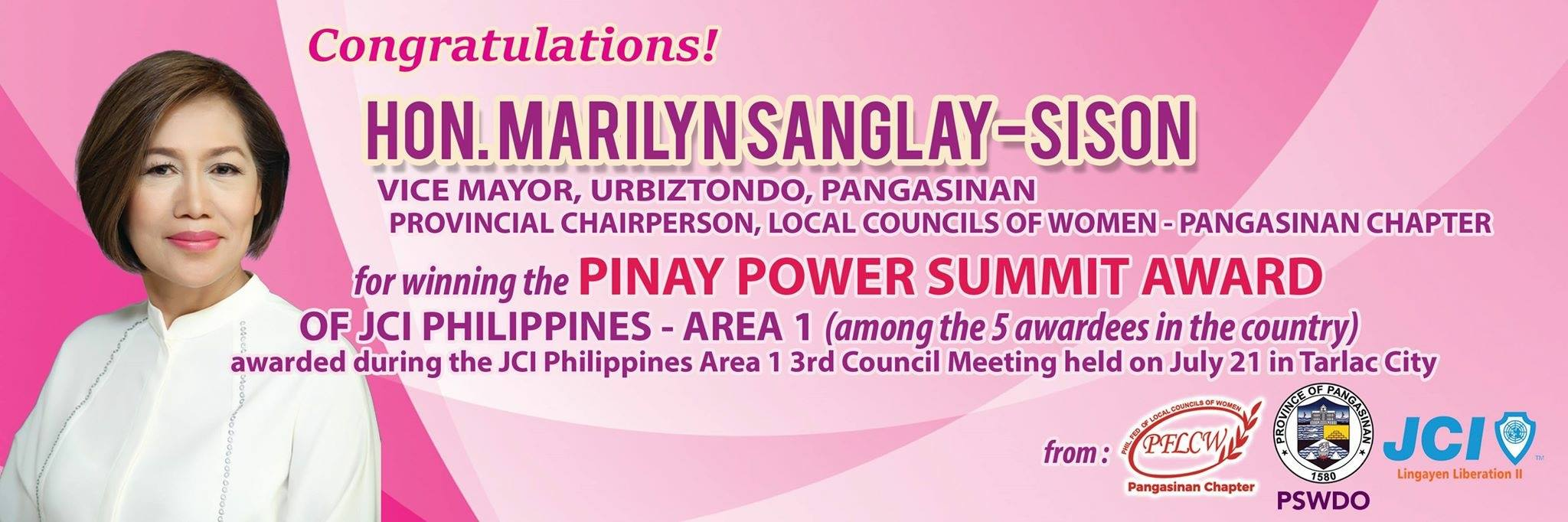 SP hails Urbiztondo Vice Mayor Marilyn Sanglay-Sison for winning the Pinay Power Summit