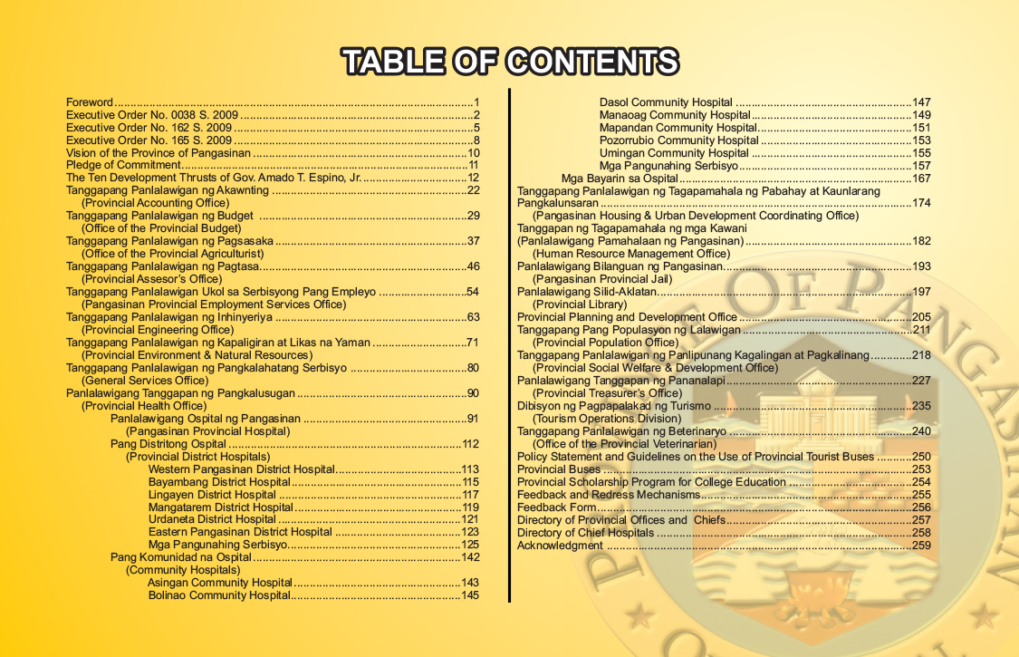 table of contents.cdr